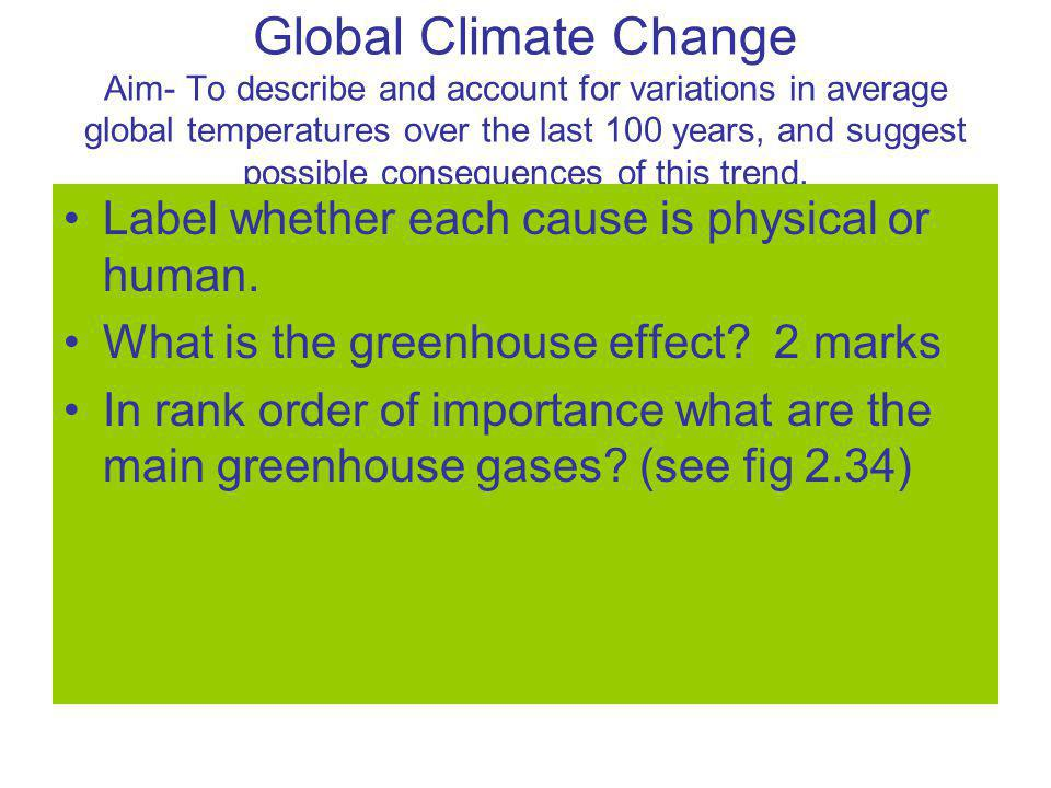 Global Climate Change Aim- To describe and account for variations in average global temperatures over the last 100 years, and suggest possible consequences of this trend.