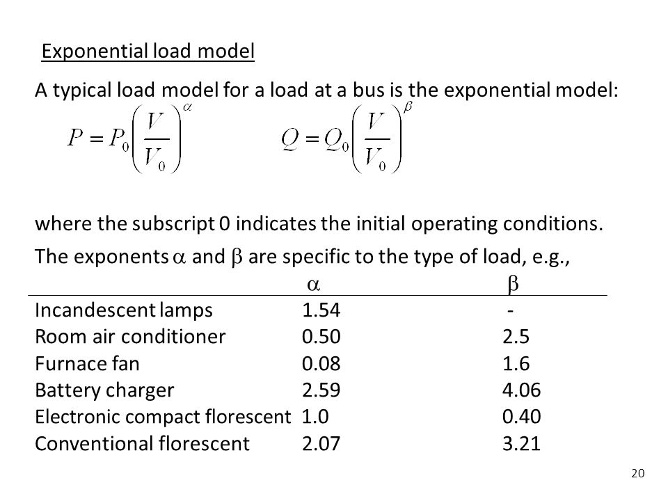20 Exponential load model A typical load model for a load at a bus is the exponential model: where the subscript 0 indicates the initial operating con