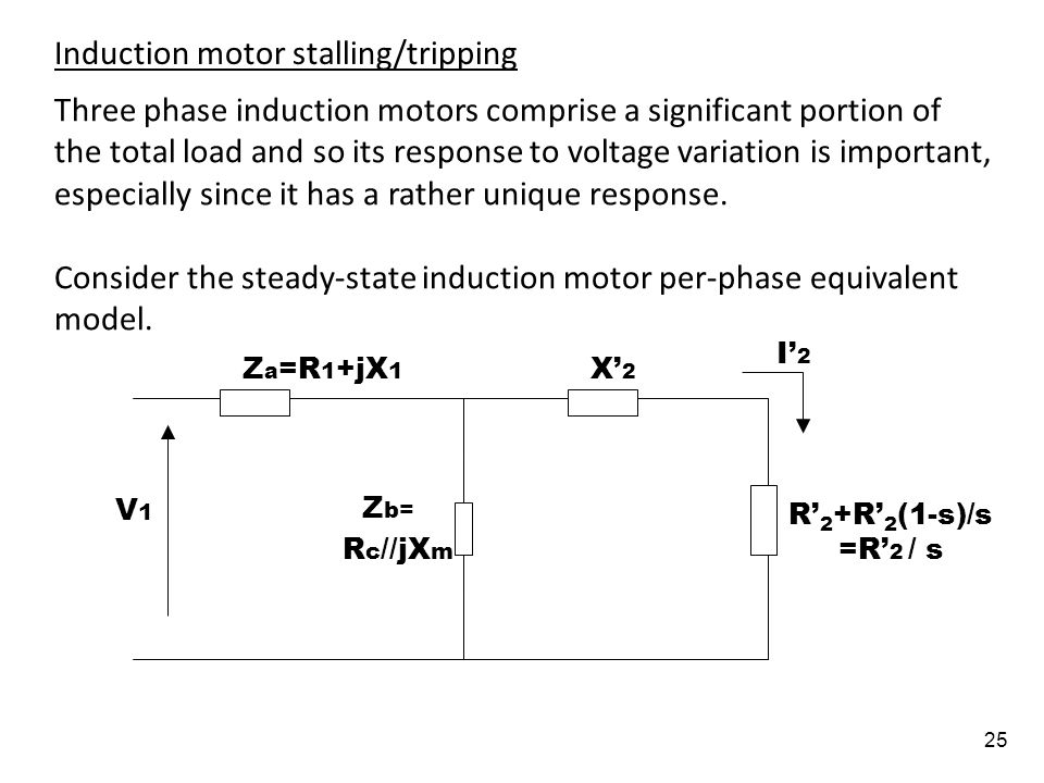 25 Three phase induction motors comprise a significant portion of the total load and so its response to voltage variation is important, especially sin