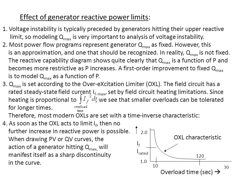 30 Effect of generator reactive power limits: 1. Voltage instability is typically preceded by generators hitting their upper reactive limit, so modeli