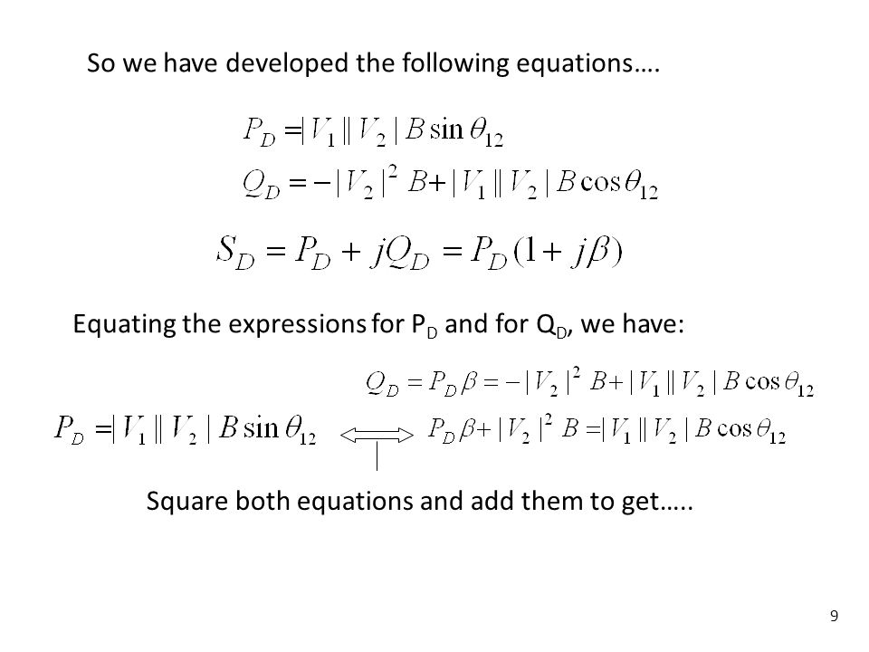 9 So we have developed the following equations…. Equating the expressions for P D and for Q D, we have: Square both equations and add them to get…..