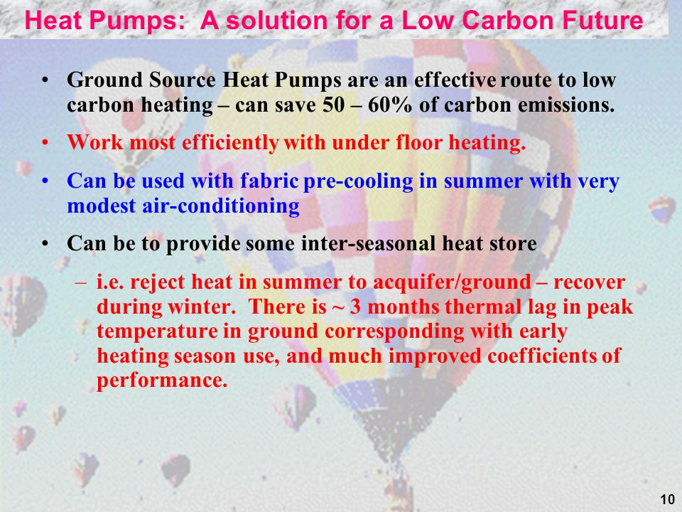 10 Ground Source Heat Pumps are an effective route to low carbon heating – can save 50 – 60% of carbon emissions.