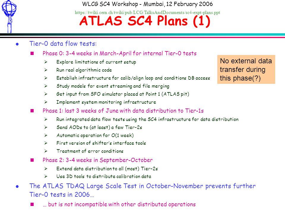 Dario Barberis: ATLAS SC4 Plans WLCG SC4 Workshop - Mumbai, 12 February 2006 https://twiki.cern.ch/twiki/pub/LCG/TalksAndDocuments/sc4-expt-plans.ppt ATLAS SC4 Plans (1) l Tier-0 data flow tests: nPhase 0: 3-4 weeks in March-April for internal Tier-0 tests Explore limitations of current setup Run real algorithmic code Establish infrastructure for calib/align loop and conditions DB access Study models for event streaming and file merging Get input from SFO simulator placed at Point 1 (ATLAS pit) Implement system monitoring infrastructure nPhase 1: last 3 weeks of June with data distribution to Tier-1s Run integrated data flow tests using the SC4 infrastructure for data distribution Send AODs to (at least) a few Tier-2s Automatic operation for O(1 week) First version of shifters interface tools Treatment of error conditions nPhase 2: 3-4 weeks in September-October Extend data distribution to all (most) Tier-2s Use 3D tools to distribute calibration data l The ATLAS TDAQ Large Scale Test in October-November prevents further Tier-0 tests in 2006… n… but is not incompatible with other distributed operations No external data transfer during this phase( )
