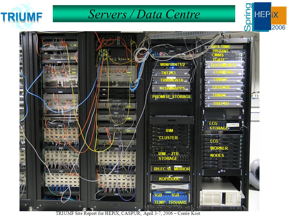 TRIUMF Site Report for HEPiX, CASPUR, April 3-7, 2006 – Corrie Kost Servers / Data Centre GPS TIME TRPRINT CMMS TRWEB TGATE DOCUMENTS CONDORG TRSHARE