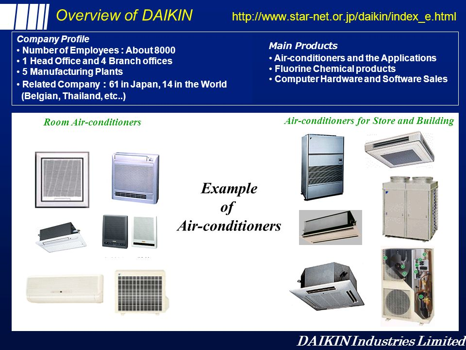 DAIKIN Industries Limited Overview of DAIKIN http://www.star-net.or.jp/daikin/index_e.html Air-conditioners for Store and Building Room Air-conditione