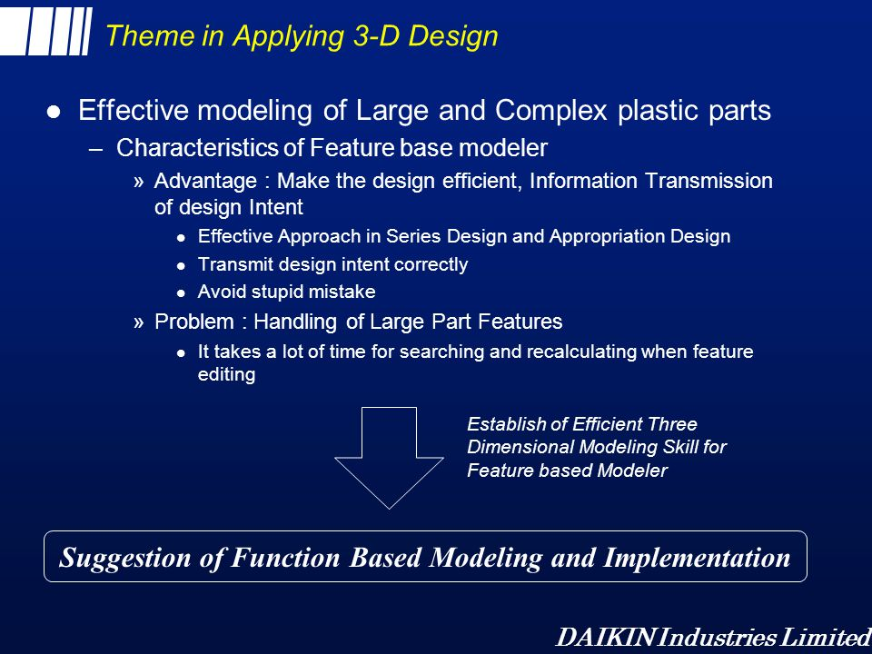DAIKIN Industries Limited About Function Based Modeling l Modeling by functional character rather than geometric l Large and Complex parts are multi-functional –structure could be simple and applicable to other models by dividing by function –functions are usually to contain something »air duct : contain air, drain-pan : receive water l Basic consideration –divide into parts by function and unit to be made shell –rough shaping to start –editing by cut/add should be done before shelling