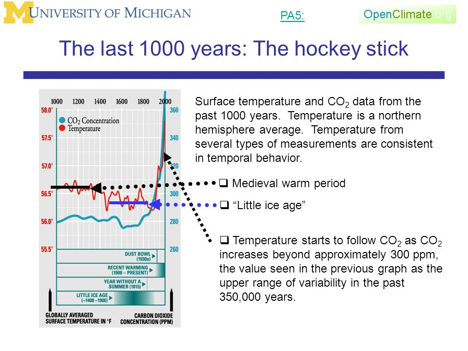 The last 1000 years: The hockey stick Surface temperature and CO 2 data from the past 1000 years.