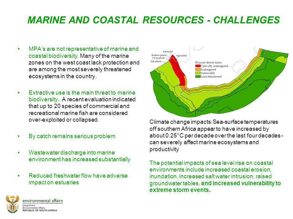 MARINE AND COASTAL RESOURCES - CHALLENGES MPAs are not representative of marine and coastal biodiversity. Many of the marine zones on the west coast l