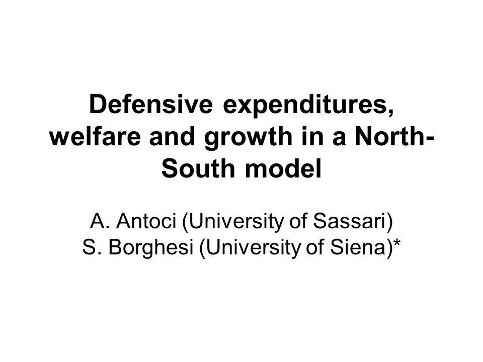 Defensive expenditures, welfare and growth in a North- South model A.