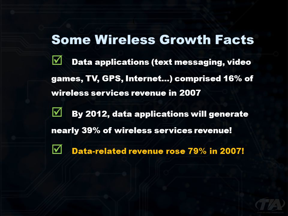 Some Wireless Growth Facts Data applications (text messaging, video games, TV, GPS, Internet…) comprised 16% of wireless services revenue in 2007 By 2012, data applications will generate nearly 39% of wireless services revenue.