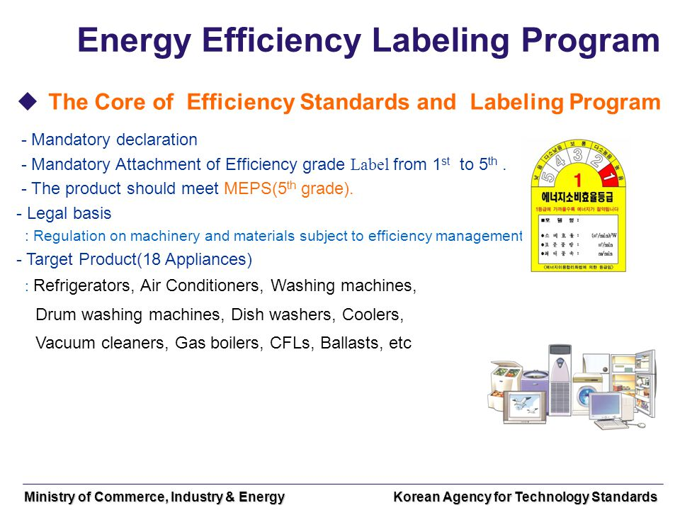 Ministry of Commerce, Industry & Energy Korean Agency for Technology Standards Energy Efficiency Labeling Program The Core of Efficiency Standards and