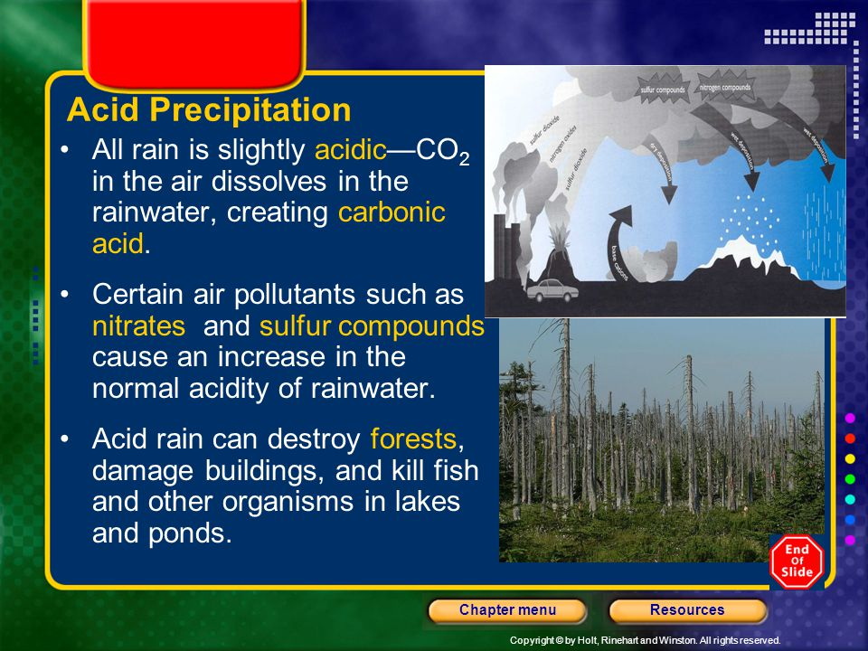 Copyright © by Holt, Rinehart and Winston. All rights reserved. ResourcesChapter menu Acid Precipitation All rain is slightly acidicCO 2 in the air di