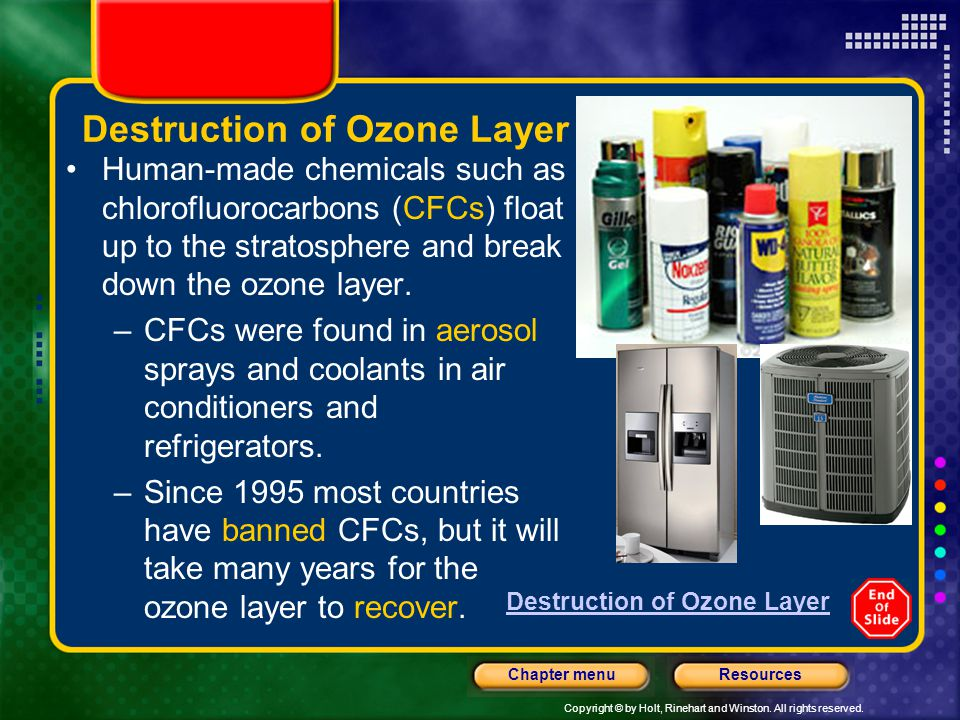 Copyright © by Holt, Rinehart and Winston. All rights reserved. ResourcesChapter menu Destruction of Ozone Layer Human-made chemicals such as chlorofl