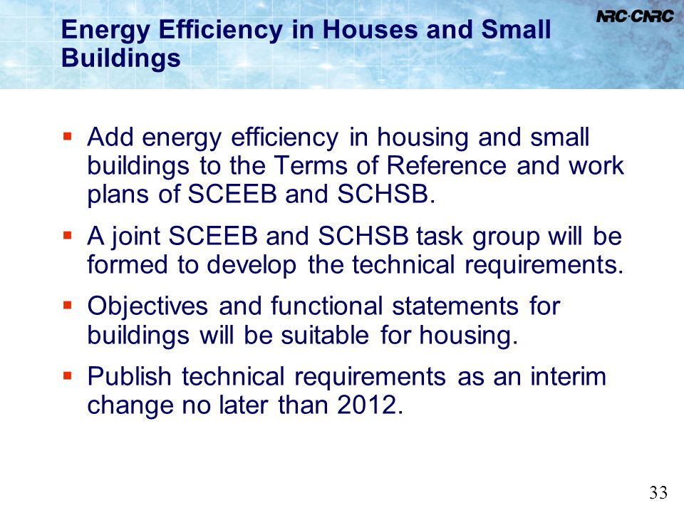 33 Energy Efficiency in Houses and Small Buildings Add energy efficiency in housing and small buildings to the Terms of Reference and work plans of SC