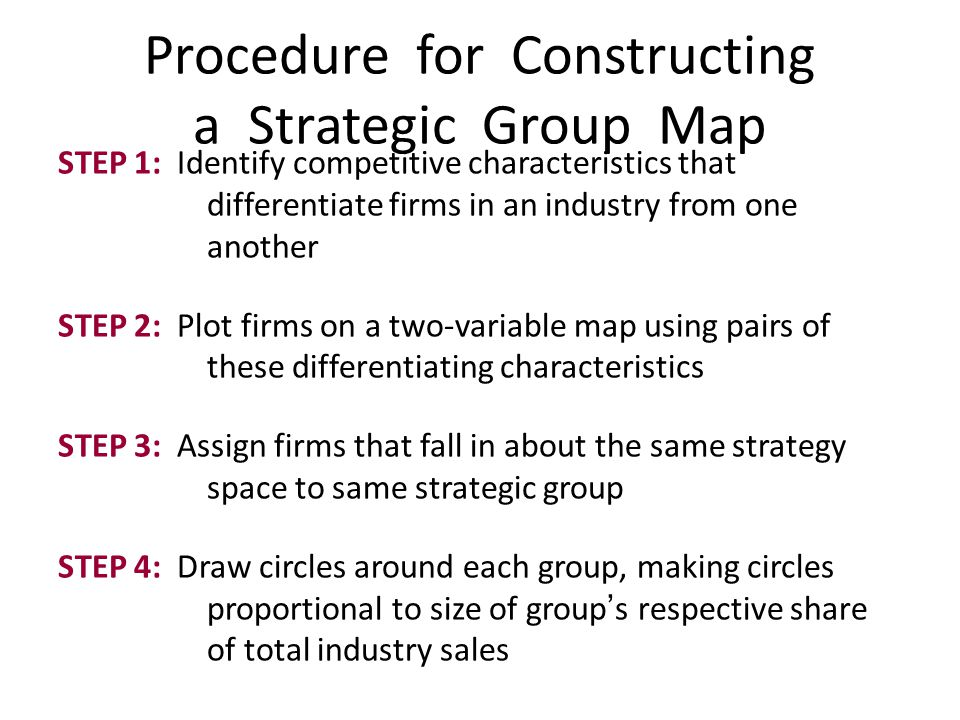 STEP 1: Identify competitive characteristics that differentiate firms in an industry from one another STEP 2: Plot firms on a two-variable map using p