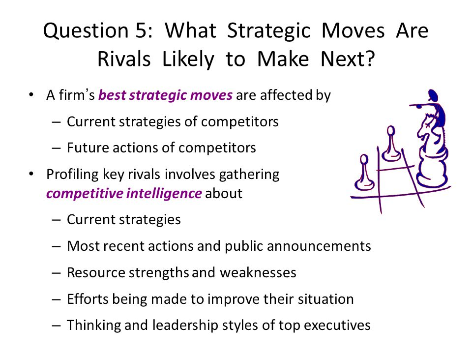 A firms best strategic moves are affected by – Current strategies of competitors – Future actions of competitors Profiling key rivals involves gatheri