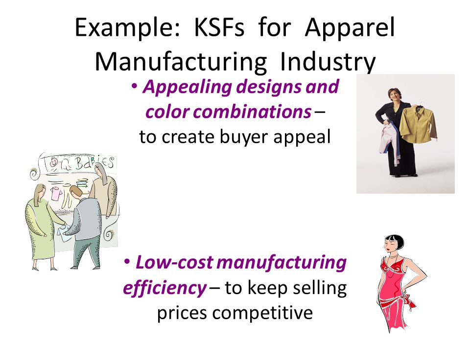 Example: KSFs for Apparel Manufacturing Industry Appealing designs and color combinations – to create buyer appeal Low-cost manufacturing efficiency –