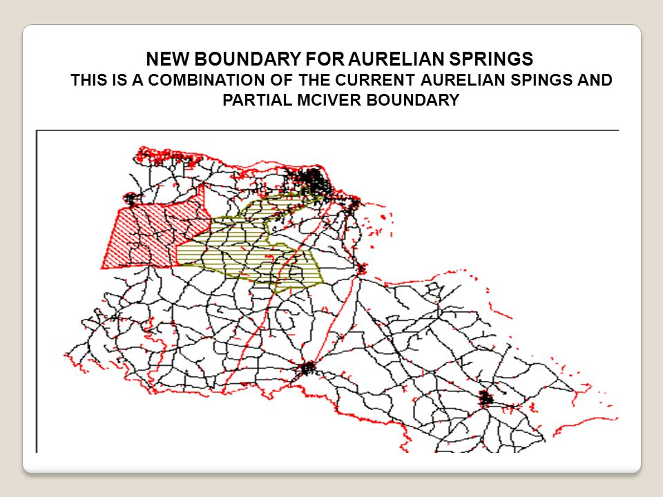 NEW BOUNDARY FOR AURELIAN SPRINGS THIS IS A COMBINATION OF THE CURRENT AURELIAN SPINGS AND PARTIAL MCIVER BOUNDARY