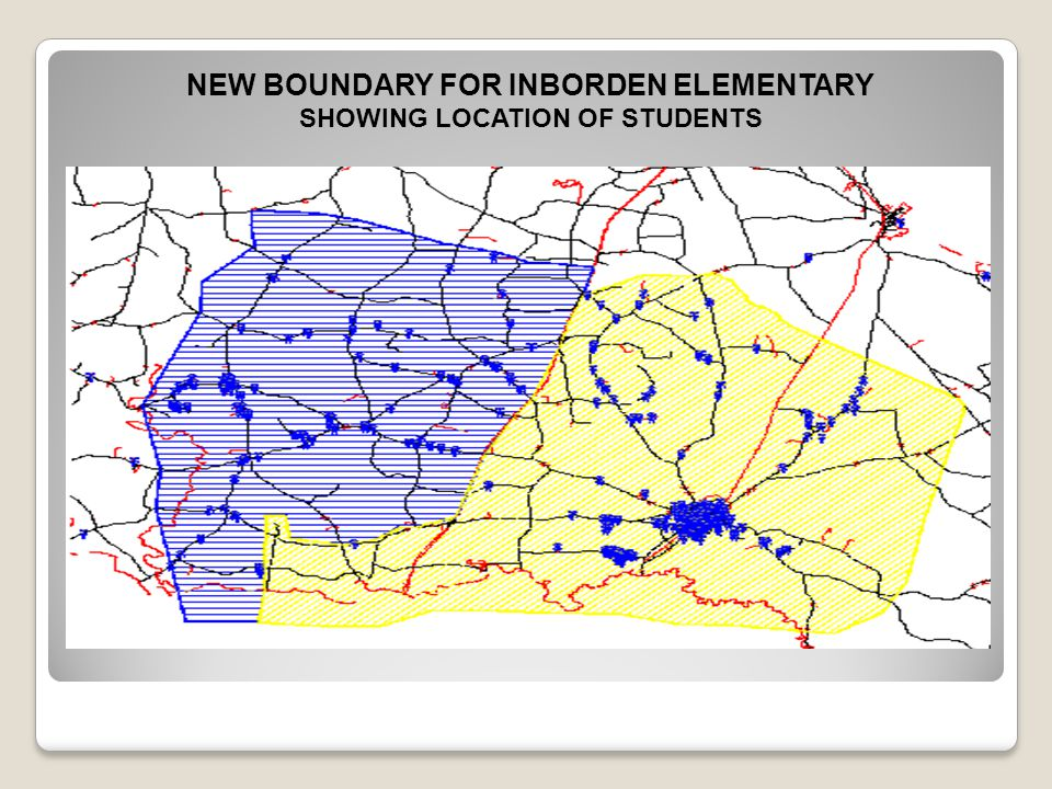 NEW BOUNDARY FOR INBORDEN ELEMENTARY SHOWING LOCATION OF STUDENTS