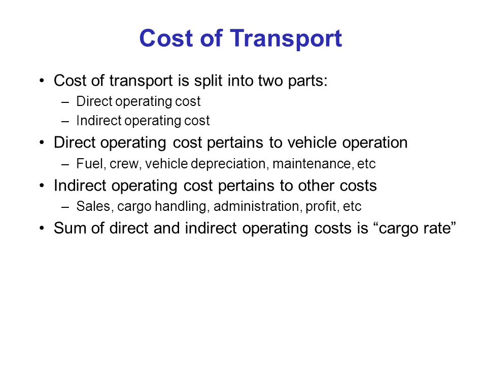 2002 Cargo Rates Air and Ocean Cargo Rate ($/ton-nm) on Great Circle Basis $0.18/ton-nm + $450/ton (=$0.18 + $0.15 per ton-mile @ 3000 nm) $0.025/ton-nm + $25/ton (= $0.025 + $0.008 per ton-mile @ 3000 nm) Great Circle Distance (nm) Container Ships Aircraft