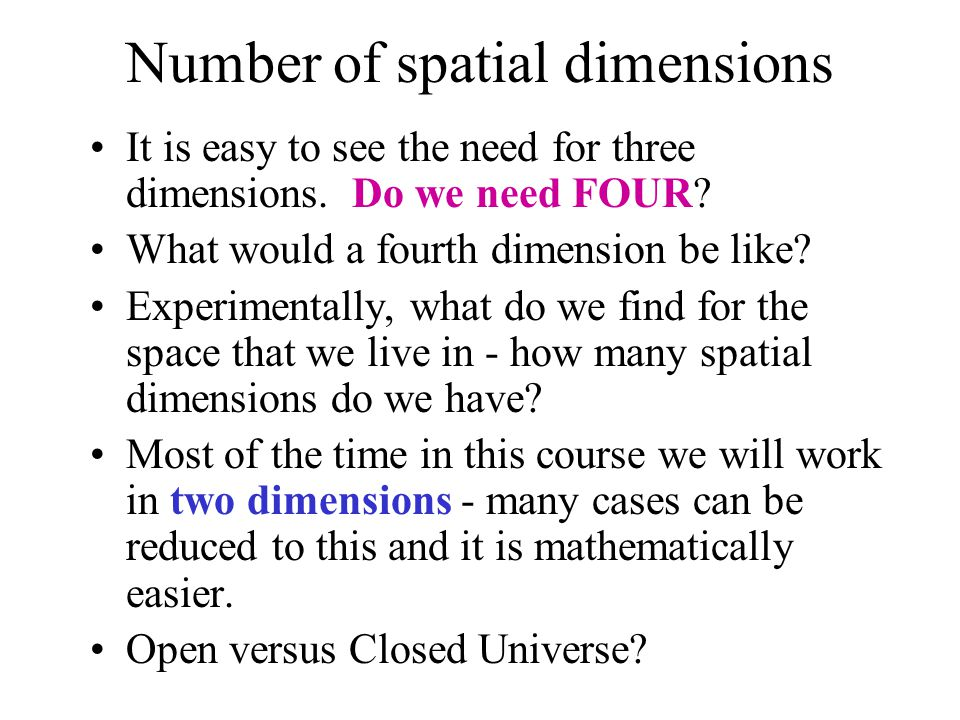 Number of spatial dimensions It is easy to see the need for three dimensions. Do we need FOUR? What would a fourth dimension be like? Experimentally,