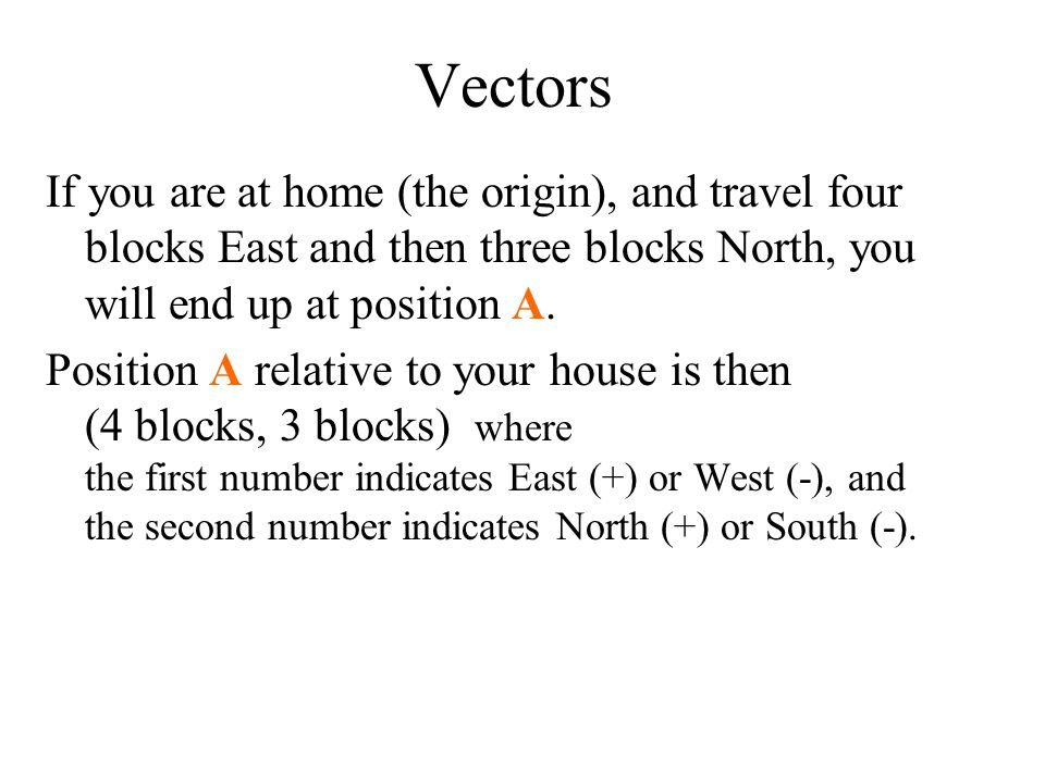 Vectors If you are at home (the origin), and travel four blocks East and then three blocks North, you will end up at position A. Position A relative t