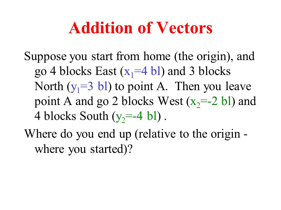 Addition of Vectors Suppose you start from home (the origin), and go 4 blocks East (x 1 =4 bl) and 3 blocks North (y 1 =3 bl) to point A. Then you lea