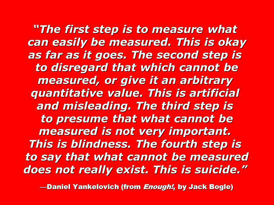 The first step is to measure what can easily be measured. This is okay as far as it goes. The second step is to disregard that which cannot be measure