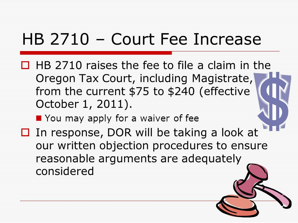 Department of Revenue Fall, 2011 Income Tax Administrative Rules E-file mandate: both personal income tax and corporate income tax programs are planning rules to implement HB 2071 Federal mandate will apply to Oregon Oregon will allow a hardship exception Tax Credit Auction Rule