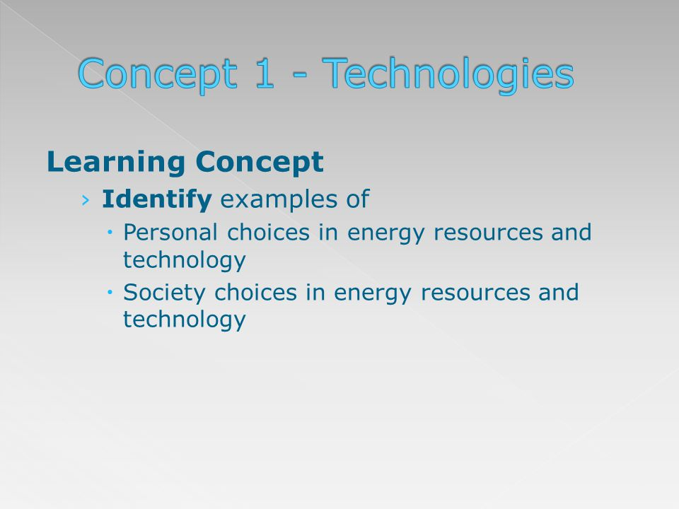 Learning Concept Identify examples of Personal choices in energy resources and technology Society choices in energy resources and technology