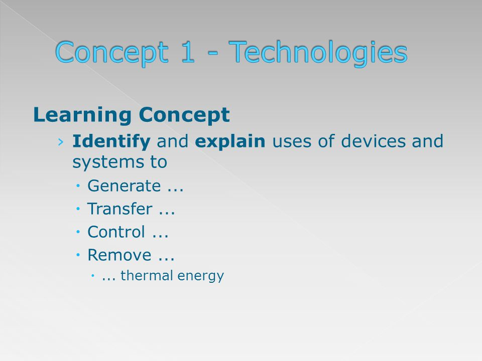 Learning Concept Identify and explain uses of devices and systems to Generate... Transfer... Control... Remove...... thermal energy