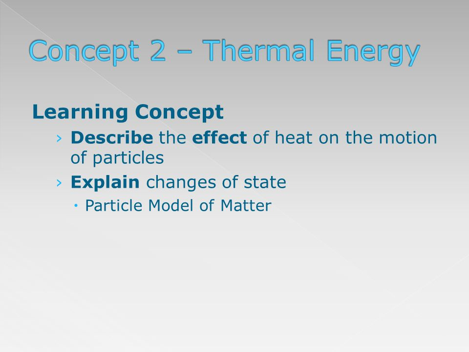 Learning Concept Describe the effect of heat on the motion of particles Explain changes of state Particle Model of Matter
