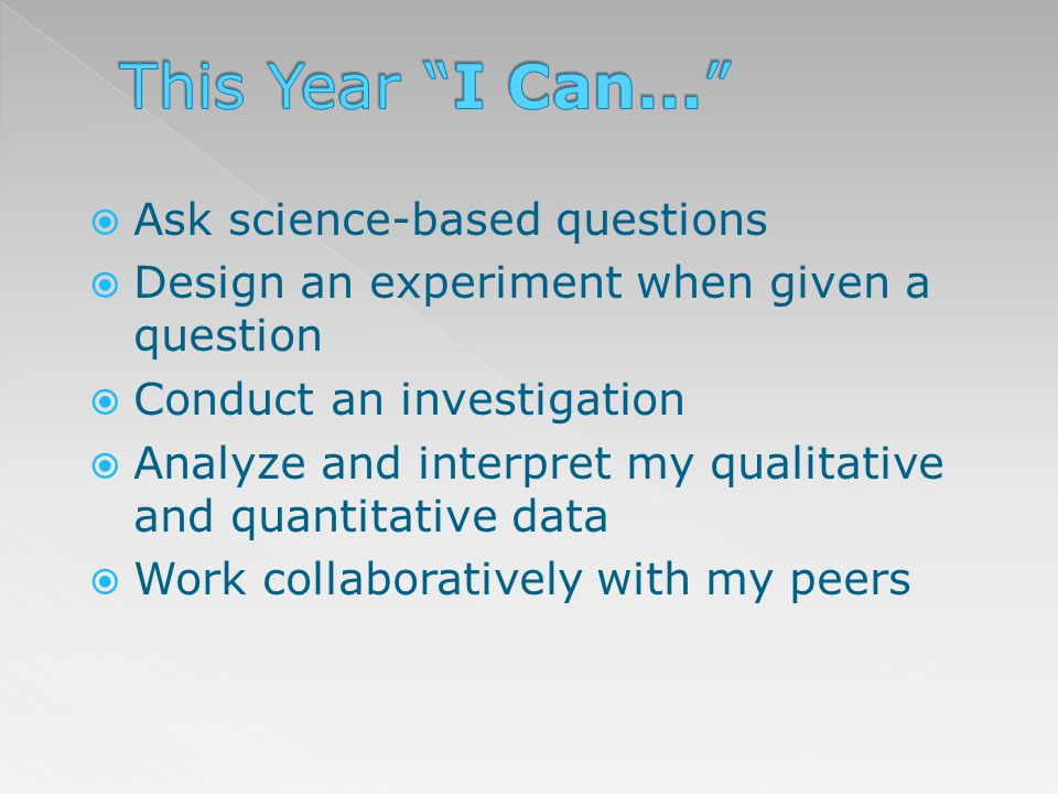 Show interest in science Appreciate how different ideas from all over the world mix together to bring about understanding Take my time and consider various approaches to investigations, problems and issues Begin to recognize my impact on the environment Work safely in the science classroom and lab