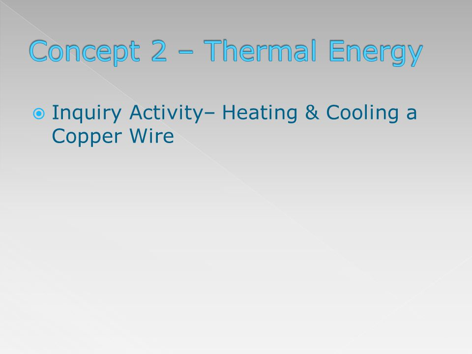 Inquiry Activity– Heating & Cooling a Copper Wire