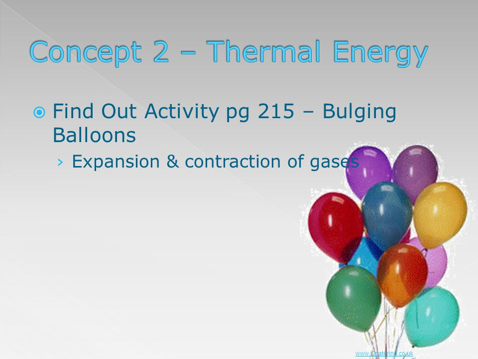 Find Out Activity pg 215 – Bulging Balloons Expansion & contraction of gases www.j2catering.co.uk