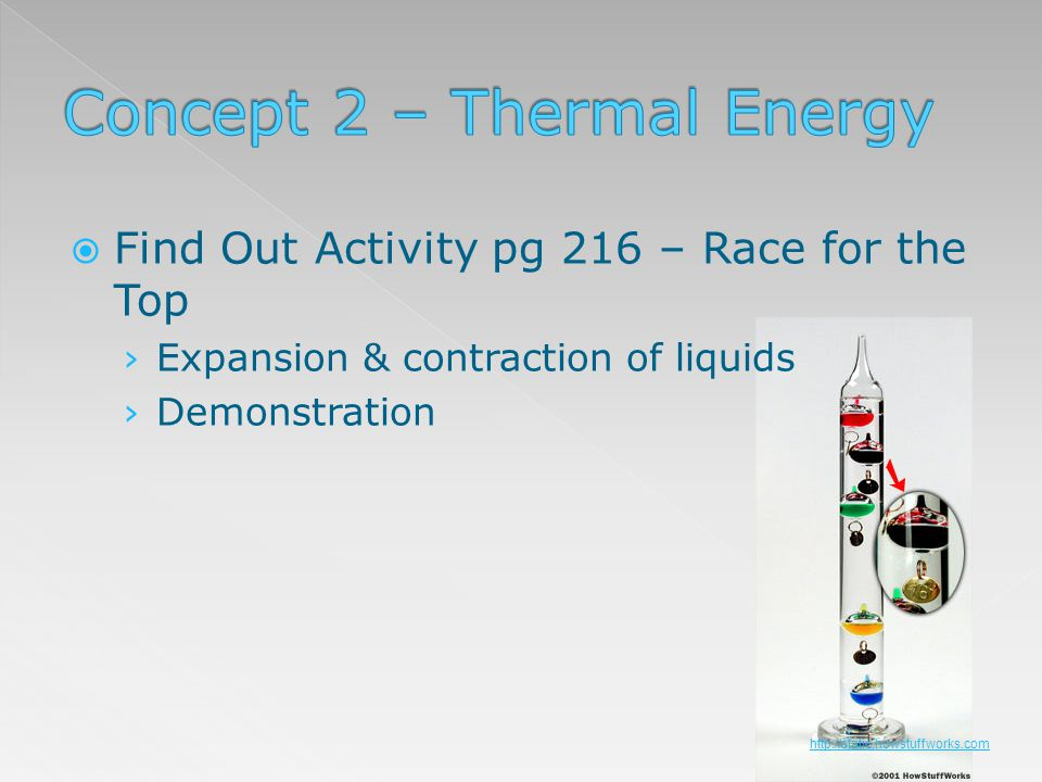 Find Out Activity pg 216 – Race for the Top Expansion & contraction of liquids Demonstration http://static.howstuffworks.com