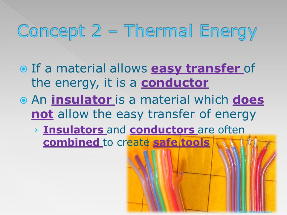 If a material allows easy transfer of the energy, it is a conductor An insulator is a material which does not allow the easy transfer of energy Insula