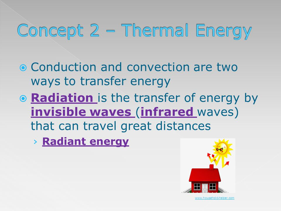 Conduction and convection are two ways to transfer energy Radiation is the transfer of energy by invisible waves (infrared waves) that can travel grea