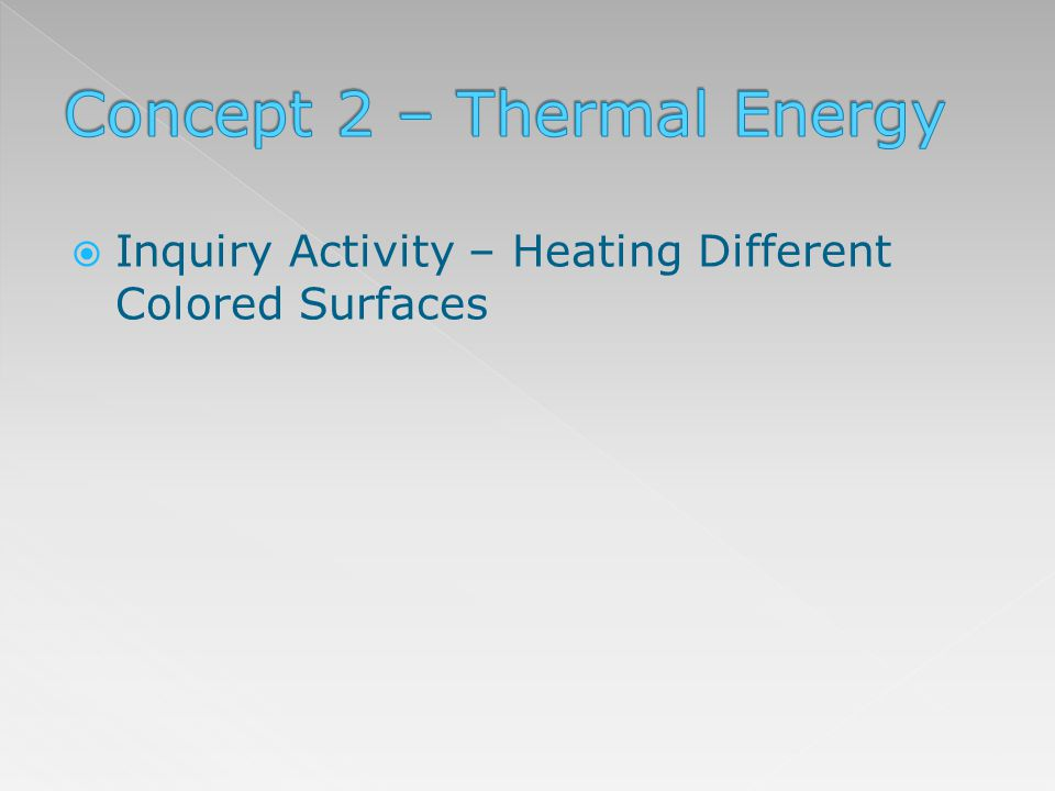 Inquiry Activity – Heating Different Colored Surfaces