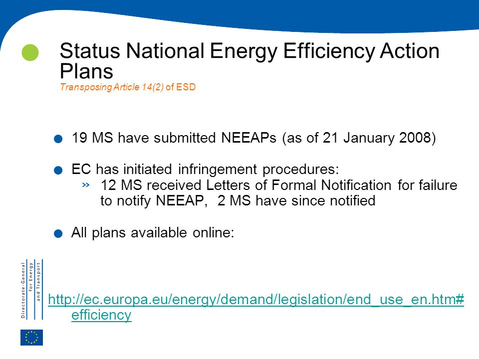 Status National Energy Efficiency Action Plans Transposing Article 14(2) of ESD.