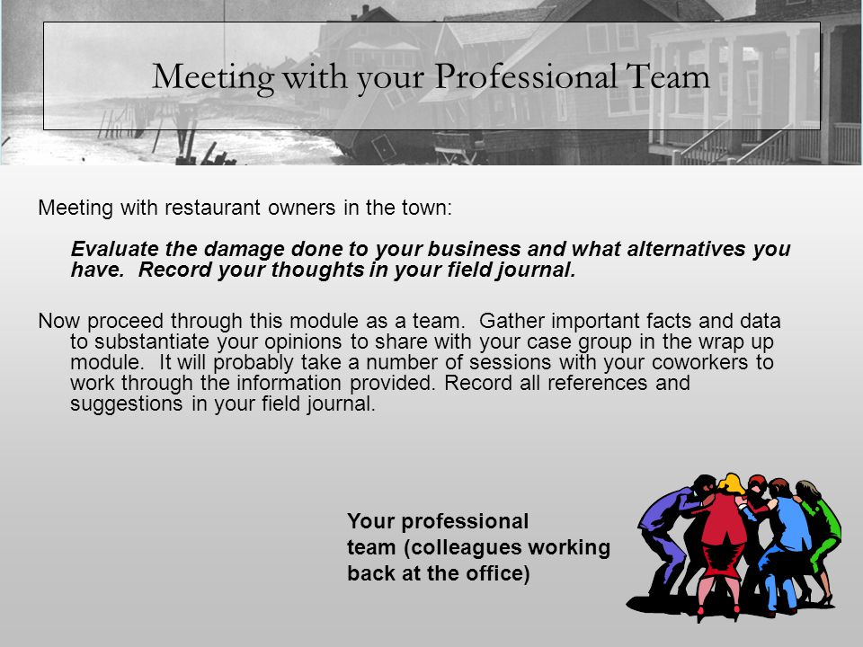 Meeting with your Professional Team Meeting with restaurant owners in the town: Evaluate the damage done to your business and what alternatives you have.