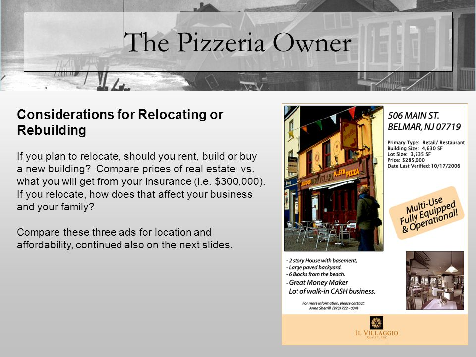 The Pizzeria Owner If you plan to relocate, should you rent, build or buy a new building.
