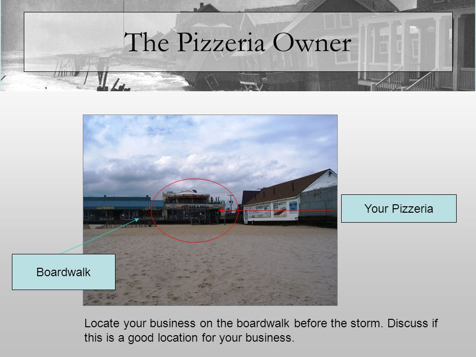 The Pizzeria Owner Your business is located on the boardwalk, to the lower right of the picture.