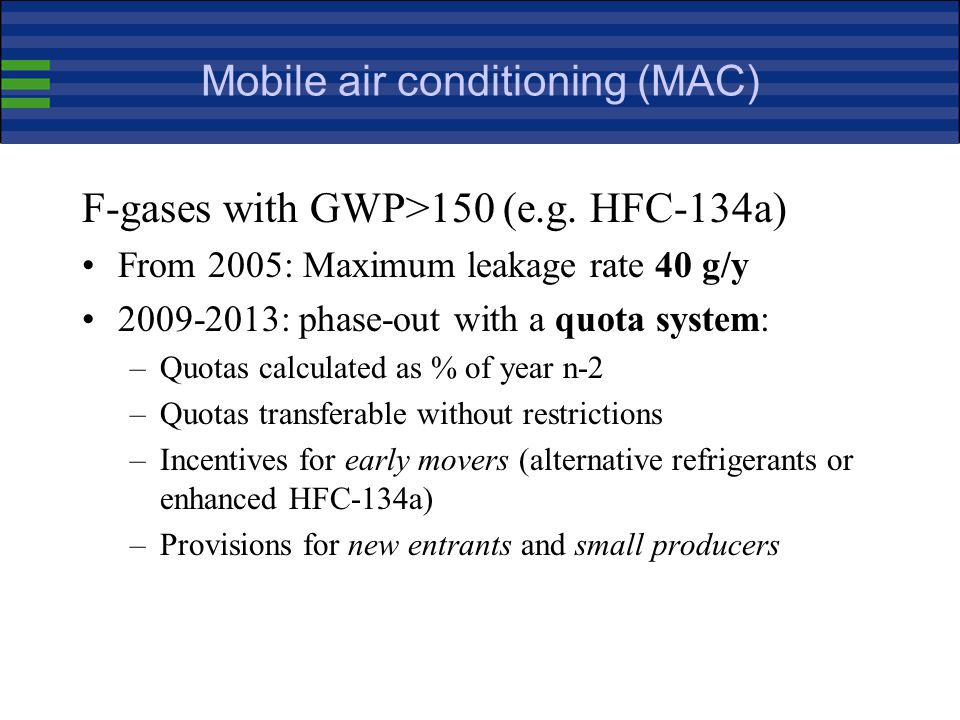 Mobile air conditioning (MAC) F-gases with GWP>150 (e.g.