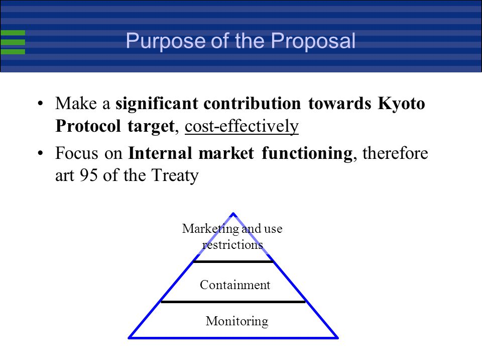 Purpose of the Proposal Make a significant contribution towards Kyoto Protocol target, cost-effectively Focus on Internal market functioning, therefore art 95 of the Treaty Monitoring Containment Marketing and use restrictions