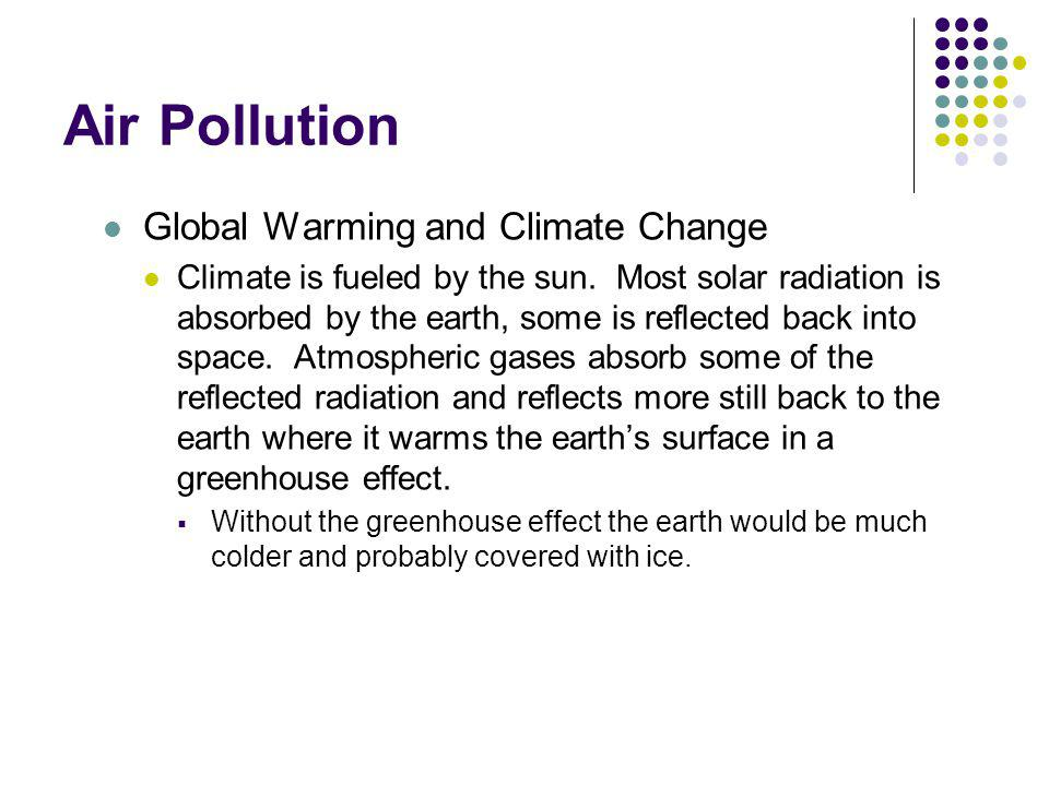 Air Pollution Global Warming and Climate Change Nature and Source of Problems Recent scientific evidence indicates that the greenhouse effect is increasing.