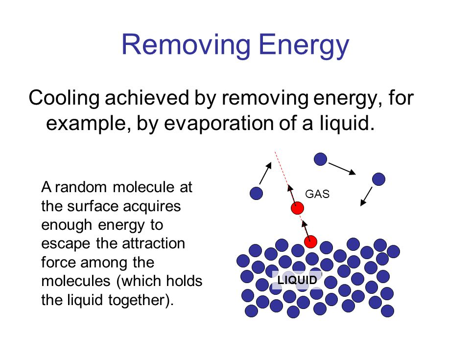 Removing Energy Cooling achieved by removing energy, for example, by evaporation of a liquid.