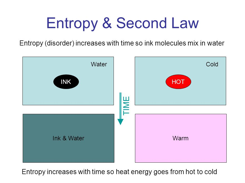 Entropy & Second Law Ink & Water INK Water TIME Warm HOT Cold Entropy (disorder) increases with time so ink molecules mix in water Entropy increases with time so heat energy goes from hot to cold