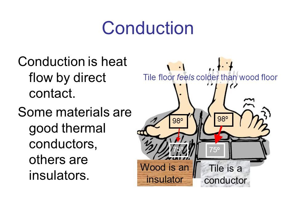 Conduction Conduction is heat flow by direct contact.