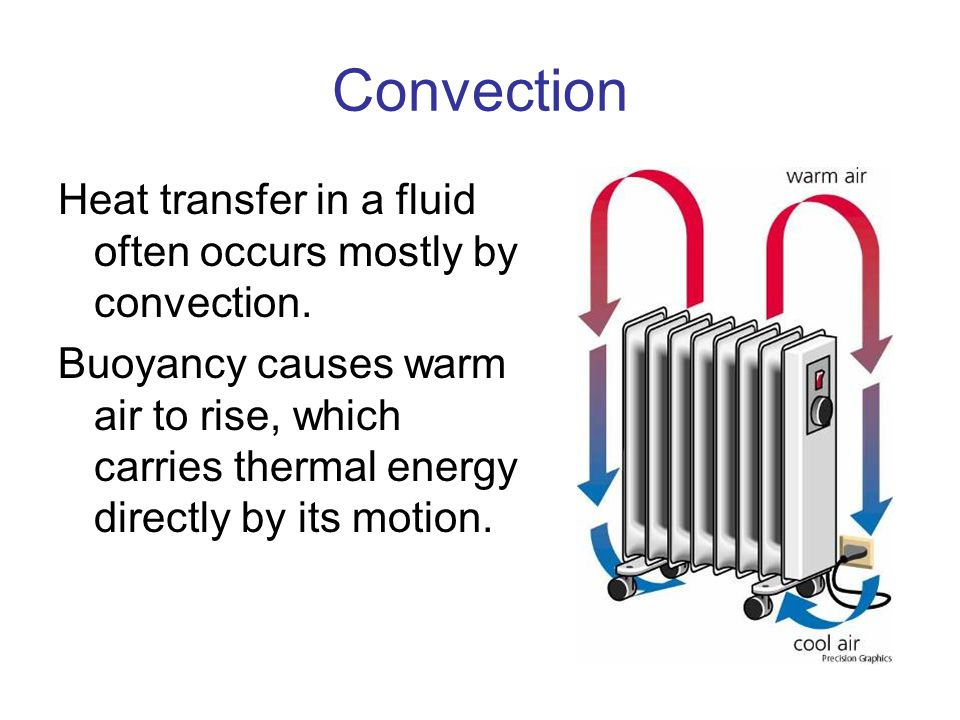 Convection Heat transfer in a fluid often occurs mostly by convection. Buoyancy causes warm air to rise, which carries thermal energy directly by its